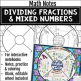 Dividing Fractions and Mixed Numbers Math Wheels