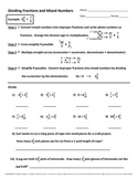 Dividing Fractions and Mixed Numbers Mini Review and Worksheet
