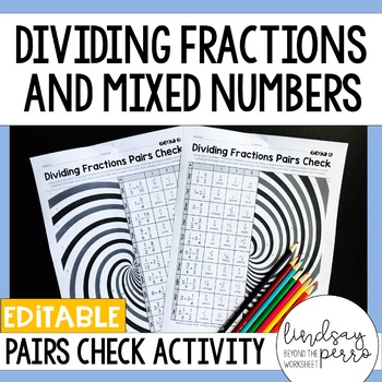 Dividing Fractions and Mixed Numbers Pairs Check Activity