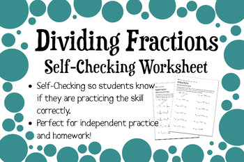 Dividing Fractions and Mixed Numbers Self-Checking Worksheet