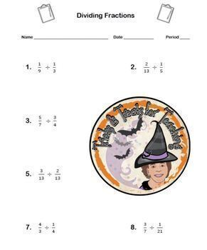 Dividing Fractions and Mixed Numbers Worksheet with ANSWER KEY Divide