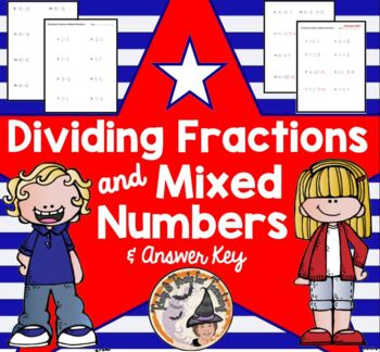 Dividing Fractions and Mixed Numbers Worksheet & Answer KE