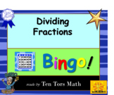 Dividing by Fractions bingo! activity game