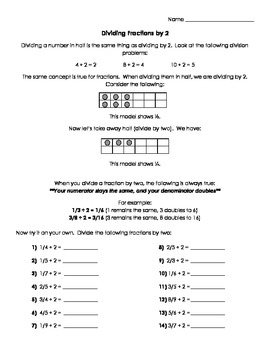 Dividing Fractions by 2