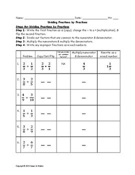 Dividing Fractions & Fractions or Whole Numbers Tabular Graphic Organizer