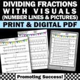 Dividing Fractions with Visual Models Worksheets, 5th Grade Math Review