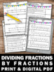 Dividing Fractions with Visual Models Worksheets, 5th Grade Math Review
