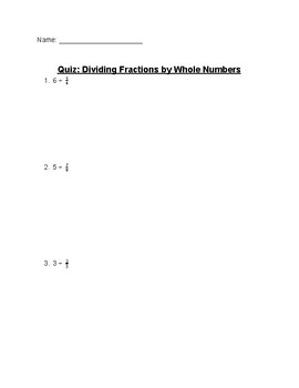 Dividing Fractions by Whole Numbers