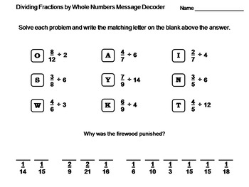 Dividing Fractions by Whole Numbers Activity: Math Message Decoder