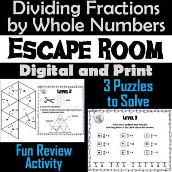 Dividing Fractions by Whole Numbers Game: Escape Room Math