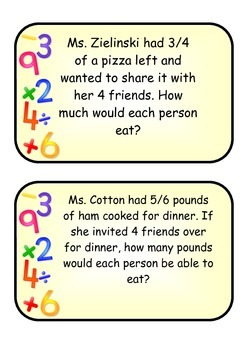 Dividing Fractions by Whole Numbers Task Cards
