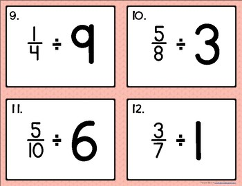 Dividing Fractions {by Whole Numbers} Task Cards