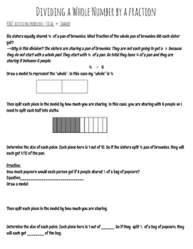 Dividing Fractions by a Whole Number and Whole Number by Fraction Notes