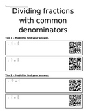 Dividing Fractions with Common Denominators (Differentiation and QR Codes)