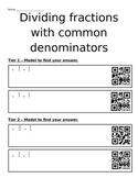 Dividing Fractions with Common Denominators (Differentiati