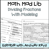 Dividing Fractions with Modeling Math Mad Lib