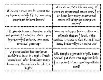 Dividing Fractions with Models Card Sort