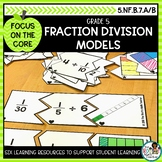 Dividing Fractions with Models- Math Center Activity and Printables Pack