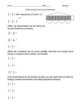Dividing Fractions with same denominator