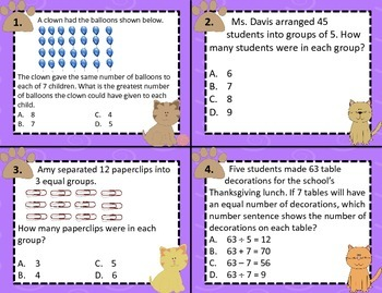 3.4H Dividing Groups into Equal Shares Computation Task Cards STAAR