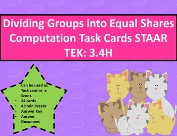 Dividing Groups into Equal Shares Computation Task Cards S
