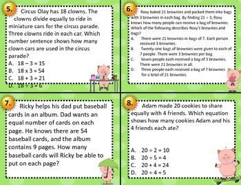 3.4H Dividing Groups into Equal Shares Word Problem Task Cards STAAR