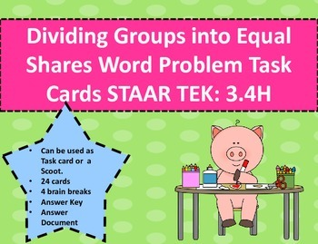 Dividing Groups into Equal Shares Word Problem Task Cards