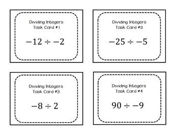 Dividing Integer Task Cards - 7.NS.1