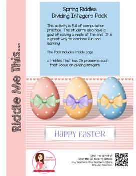 Easter Dividing Integers Math Riddles