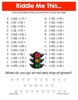 Summer Dividing Integers Math Riddles
