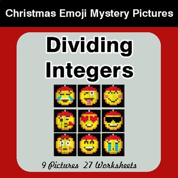 Dividing Integers - Christmas EMOJI Color-By-Number Mystery Pictures