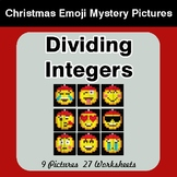Dividing Integers - Christmas EMOJI Color-By-Number Math Mystery Pictures