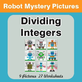Dividing Integers - Color-By-Number Math Mystery Pictures