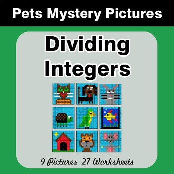 Dividing Integers - Color-By-Number Math Mystery Pictures - Pets Theme