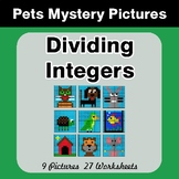 Dividing Integers - Color-By-Number Mystery Pictures - Pets Theme