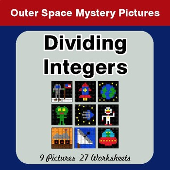 Dividing Integers - Color-By-Number Math Mystery Pictures - Space theme