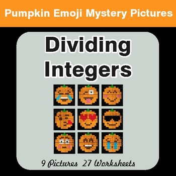 Dividing Integers - Color-By-Number PUMPKIN EMOJI Math Mystery Pictures
