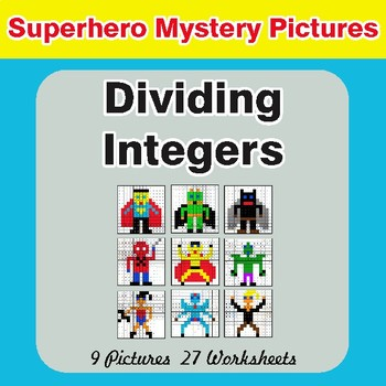 Dividing Integers - Color-By-Number Superhero Math Mystery Pictures