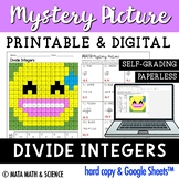 Dividing Integers: Solve + Color Mystery Picture (Emoji)