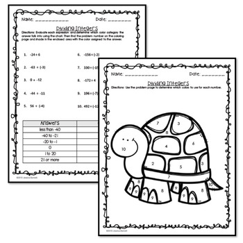 Dividing Integers Coloring Page Activity