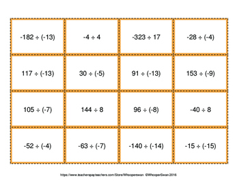 Dividing Integers - Connect 4 Game