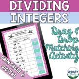 Dividing Integers Drag and Drop Matching Activity (Digital