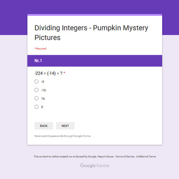 Dividing Integers - EMOJI PUMPKIN Mystery Picture - Google Forms