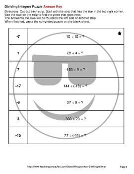 Dividing Integers - Emoji Picture Puzzles