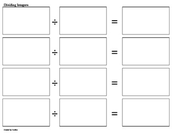 Dividing Integers File Folder Games