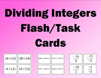 Dividing Integers Flash/Task Cards (32 Cards)
