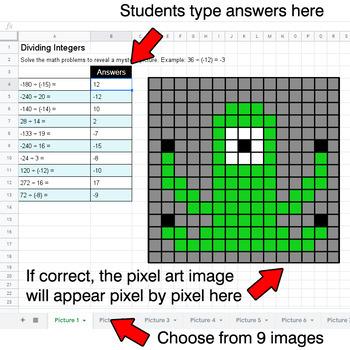 Dividing Integers - Google Sheets Pixel Art - Monsters