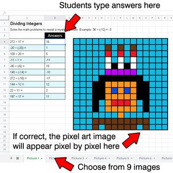 Dividing Integers - Google Sheets Pixel Art - Native American Indians