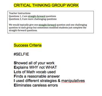 Dividing Integers Group Work Lesson