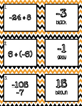 Dividing Integers HALLOWEEN Color by Number